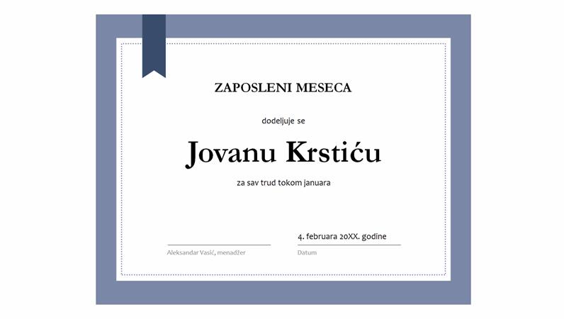 Certifikat za radnika meseca
