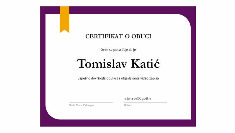 Certifikat o obuci