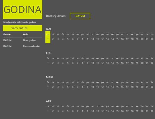 Kalendar sa važnim datumima