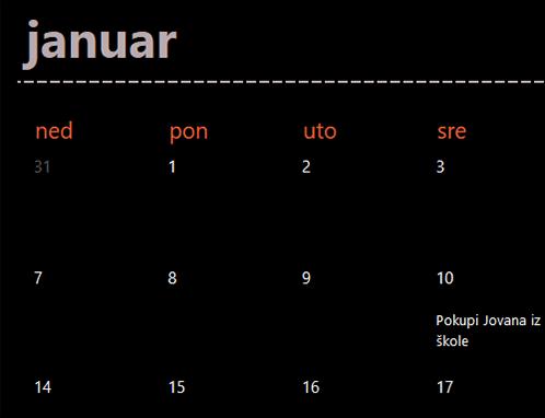 Kartice kalendara sa važnim datumima (crne)