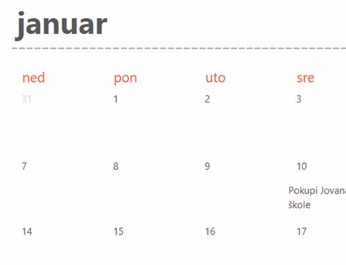 Kartice kalendara sa važnim datumima (bele)