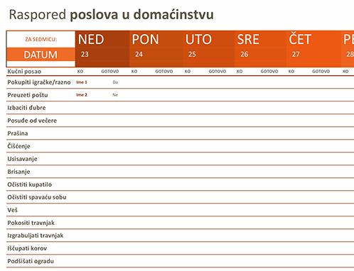 Raspored kućnih poslova
