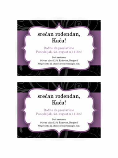 Pozivnica za zabavu (dizajn sa purpurnom trakom)