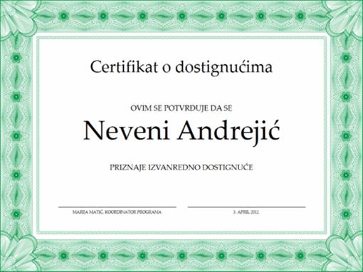 Certifikat o dostignućima (zeleni)
