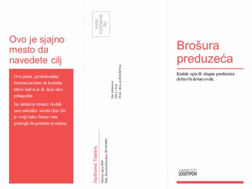 Trodelna poslovna, medicinska brošura (crveni, beli dizajn)