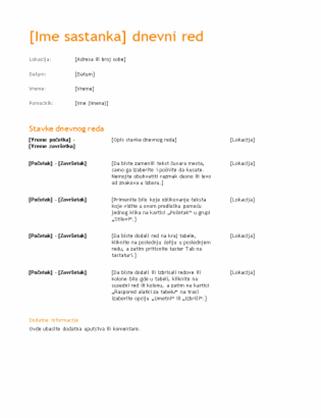 Dnevni red poslovnog sastanka (narandžasti dizajn)