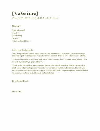 Propratno pismo uz biografiju (zeleno)