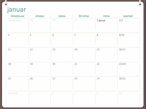 Klasični zidni kalendar (pon–ned, dizajn sa dva prstena)