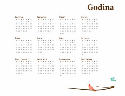 Godišnji kalendar sa dizajnom ptica (pon–ned)
