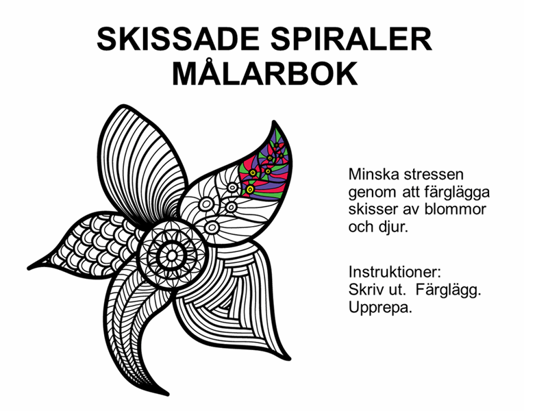 Skissad spiral, målarbok