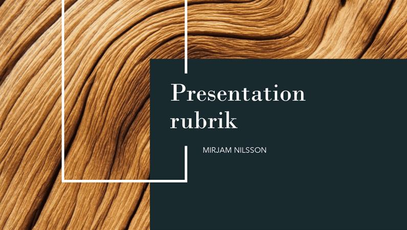 Presentation med mörkt trä