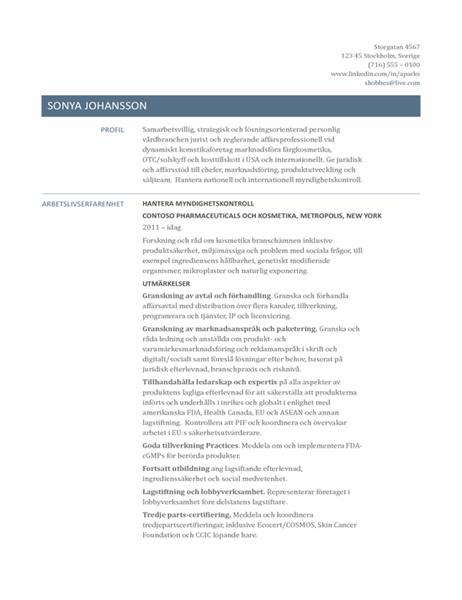 CV för chef inom regulatoriska frågor