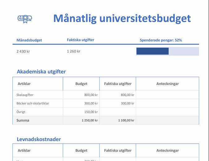 Månatlig studiebudget