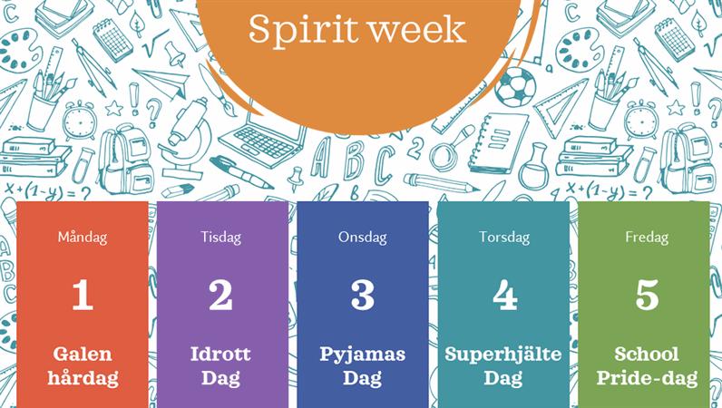 """Kalender för skolans """"Spirit week"""""""