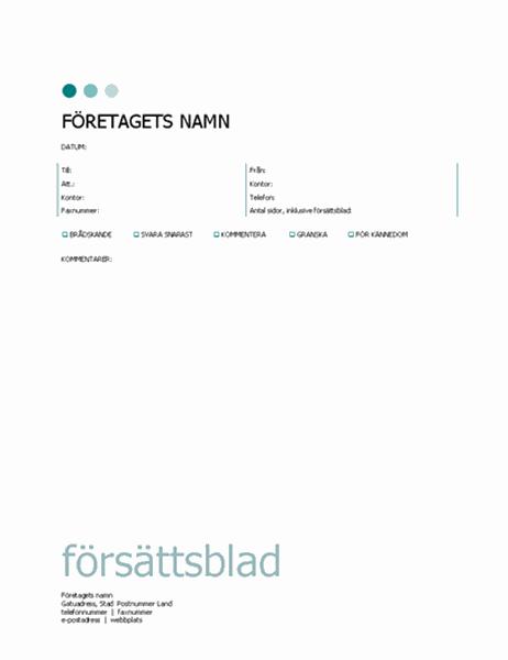 Försättsblad för fax (prickar)