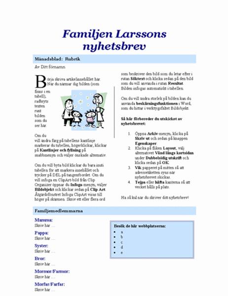 Familjens nyhetsbrev (2 sidor)