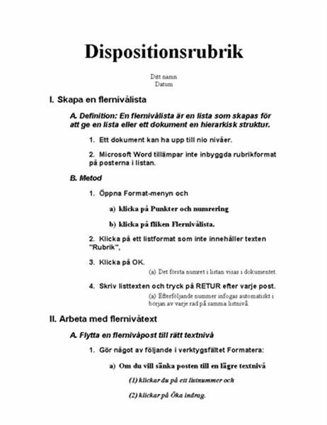 Dokumentdisposition med fem nivåer och instruktioner