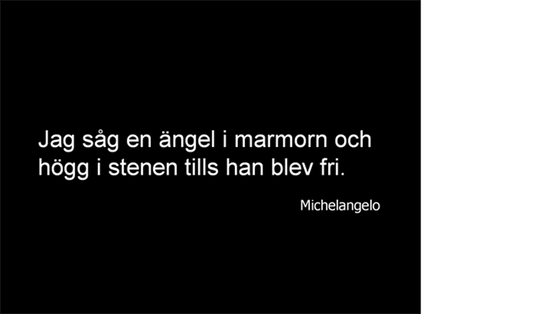 Bild med Michelangelo-citat