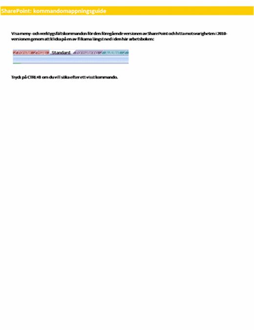 SharePoint Server: referensarbetsbok över menyfliksområde
