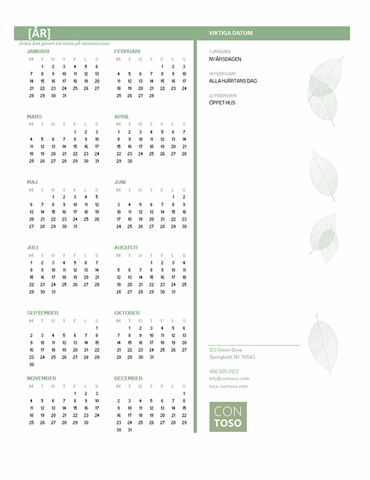 Kalender för små företag (valfritt år, mån – sön)