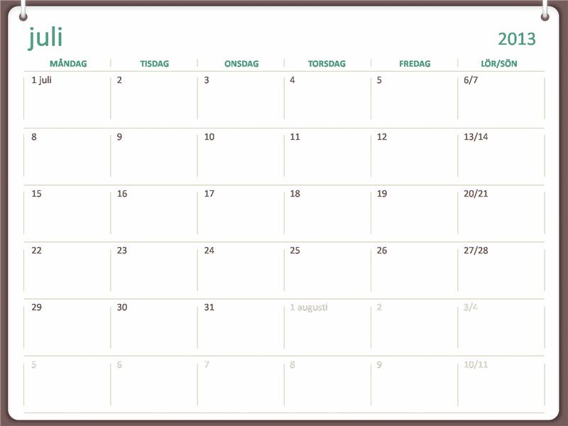 Skolårskalender för 2013–2014 (juli)