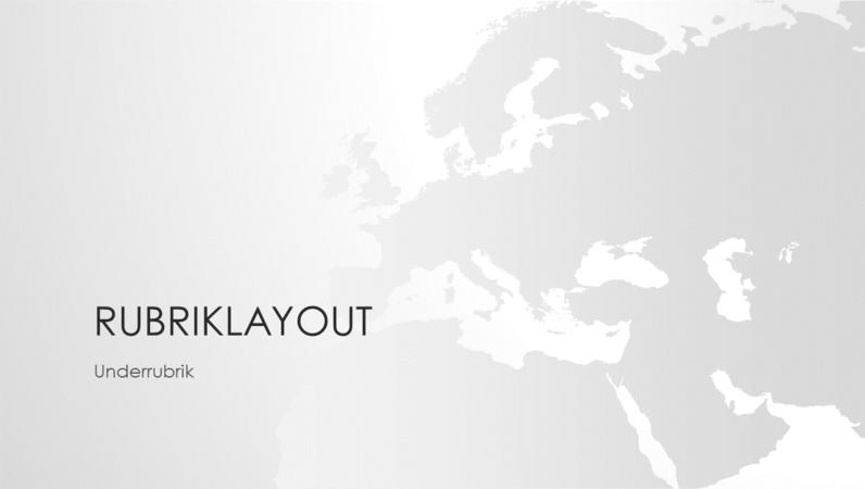 Världskarteserien, presentation av den europeiska kontinenten (bredbild)