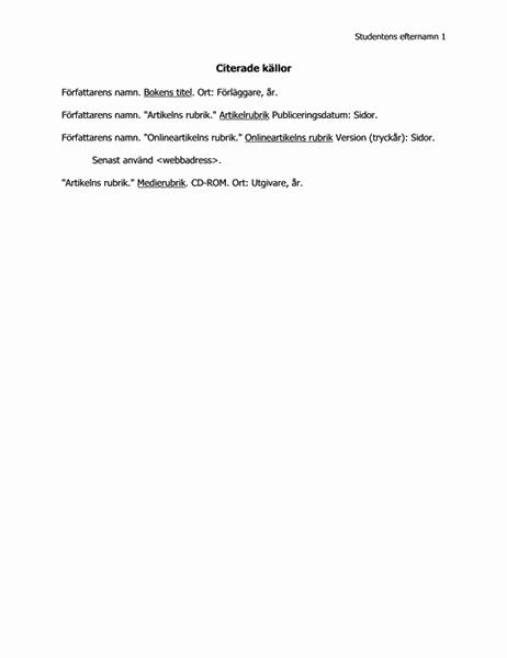 Lista över citerade källor i MLA-format