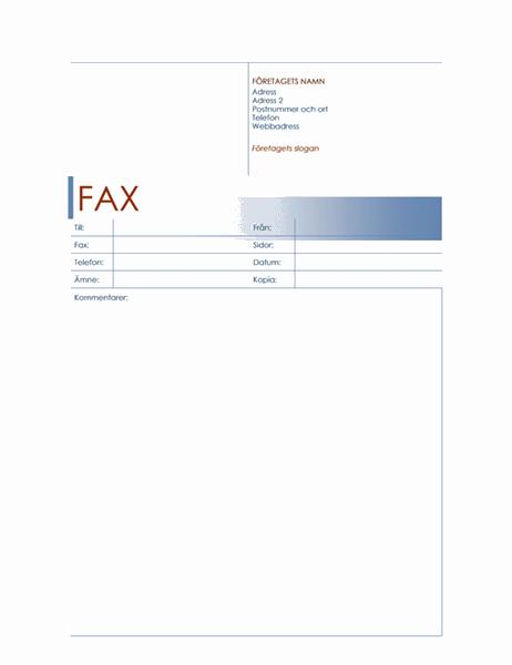 Försättsblad för fax (blått)