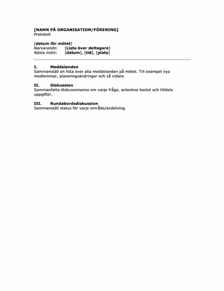 Organisationsmöten i minuter (kort formulär)