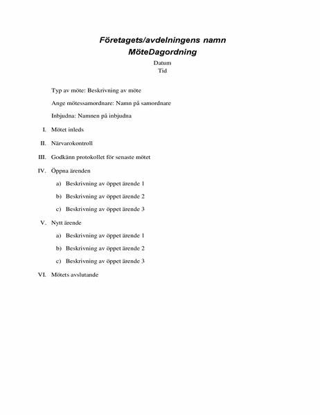 Dagordning för formella möten