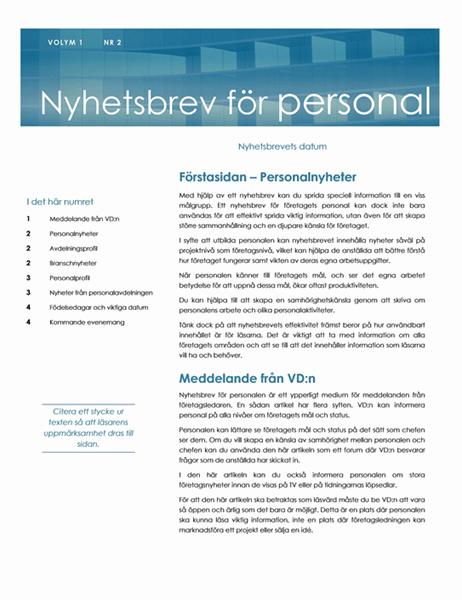 Nyhetsbrev för personal