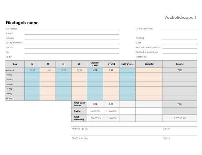 Veckotidrapport (8 1/2 x 11 liggande)