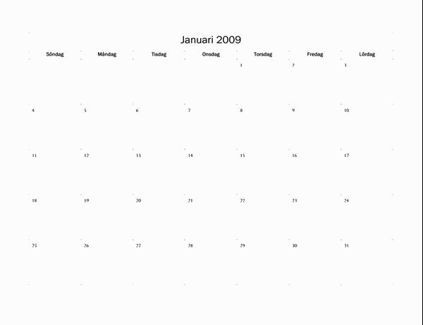 Kalender för 2009 (grundläggande)
