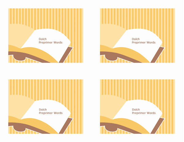 Glossnabbkort (Dolch Preprimer-ord; baksida; fungerar med Avery 3263, 8387)