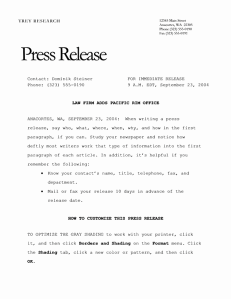 Pressrelease (elegant)