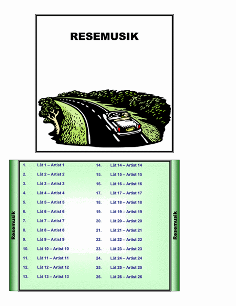 Insättsblad till CD-fodral med temat resemusik