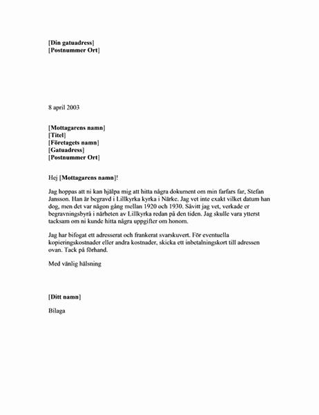 Begäran om släktforskningsdokument från en begravningsbyrå