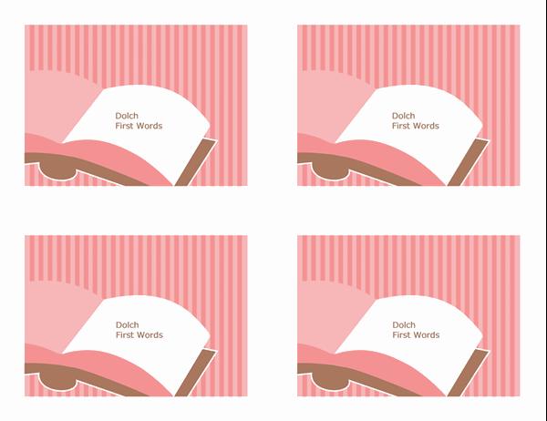 Glossnabbkort (Dolch First Grade-ord; baksida; fungerar med Avery 3263, 8387)