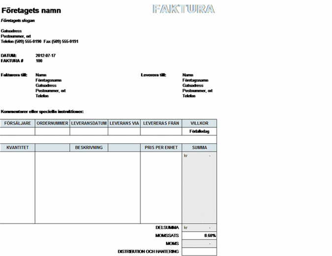 Faktura med skatt samt beräkningar av leverans och hantering
