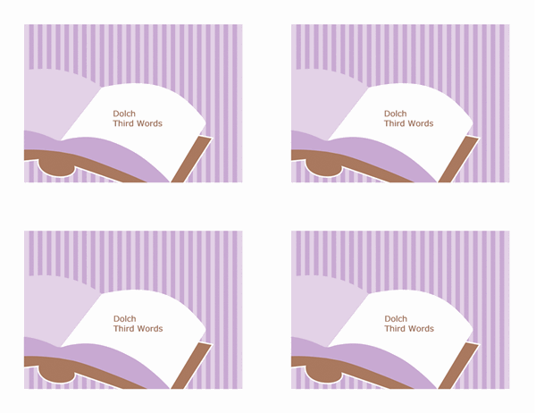 Glossnabbkort (Dolch Third Grade-ord; baksida; fungerar med Avery 3263, 8387)