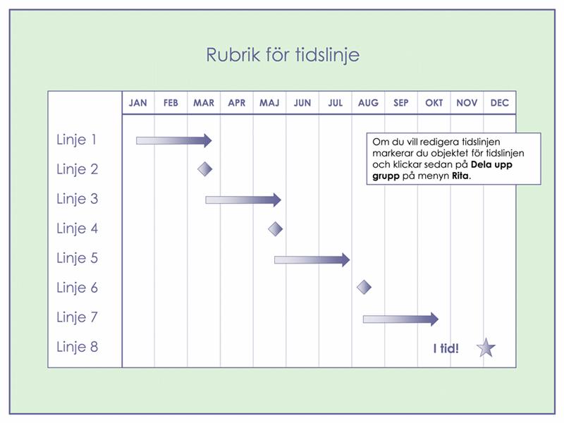 Tidslinje för 3-månadersprojekt med flera nivåer