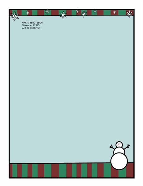 Brevpapper med vintermotiv (med snögubbe)