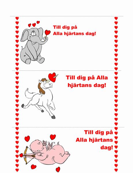 Alla hjärtans dag-kort (3 st/sida)