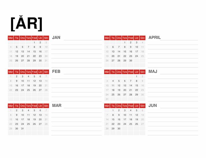 Kalender för valfritt år
