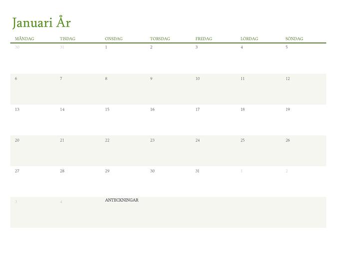 Kalender för valfritt år (1 månad per flik)