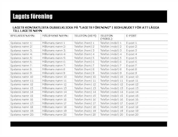 Kontaktlista för idrottslag
