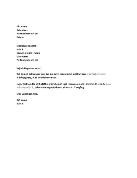Avskedsansökan från ledningsgruppen