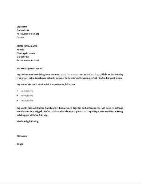 Exempel på följebrev som svar på en platsannons om en teknisk tjänst