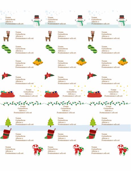 Juletiketter (julmotiv, 30 per sida, passar till Avery 5160)