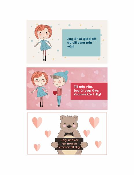 Alla hjärtans dag-kort för barn (12 olika motiv, 3 per sida)